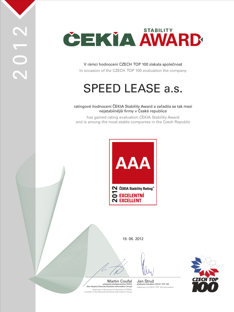 Čekia Stability Award certifikát Speed Lease